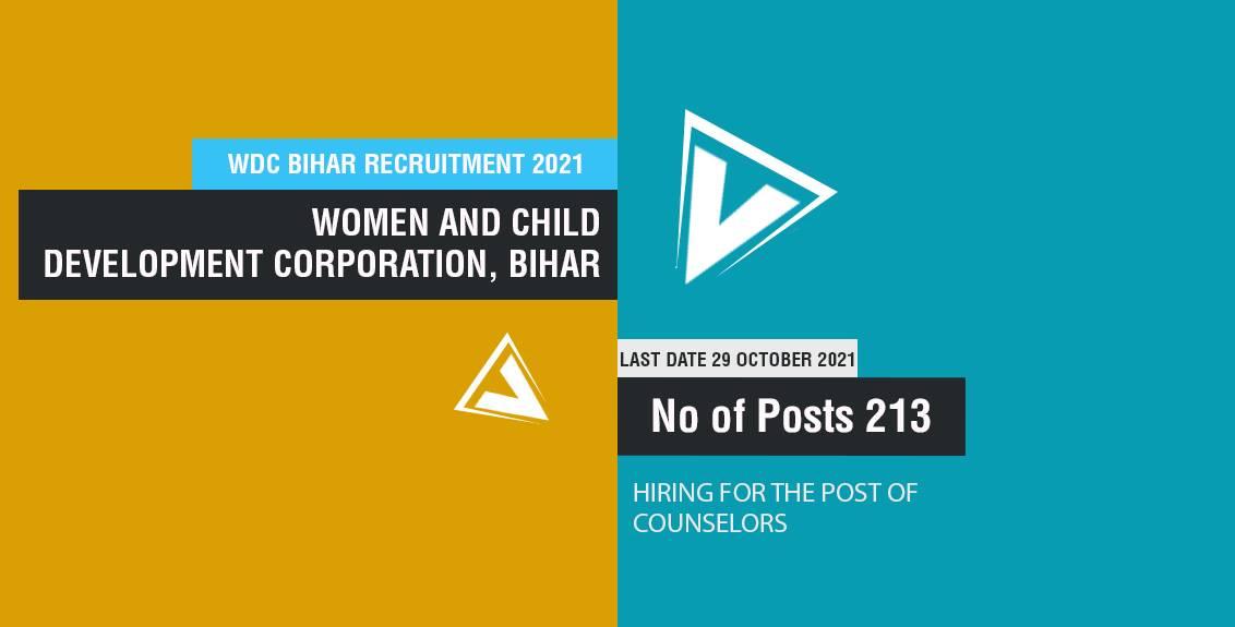 WDC Bihar Recruitment 2021 for 213 Counselors Posts